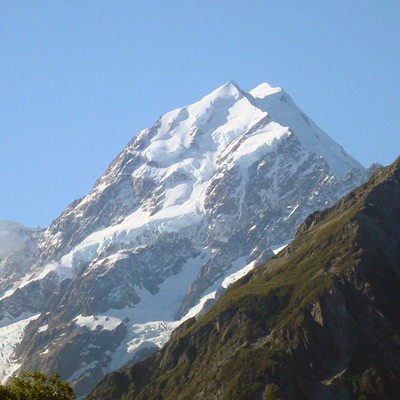 Mount Cook - seen on our Australia & New Zealand tour. Our program overnights in Mount Cook so you can appreciate its beauty.  Flightseeing and a glacier cruise are available.